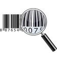 Glossy magnifying barcode vector image