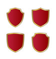 gold and red shield shape icons set logo emblem vector image vector image