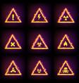 hazard warning signs with digital glitch effect vector image
