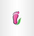 healthy foot logo footprint leaf icon vector image vector image