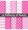Heart shape seamless patterns tiling vector image vector image