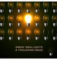 Idea concept row of light bulbs vector image vector image