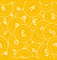 international currencies coins seamless pattern vector image