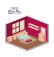 isometric floor plan of bedroom double bed and vector image vector image