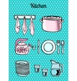 Kitchen tools on a turquoise background vector image vector image