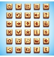 Large set of wooden square buttons for the user vector image vector image