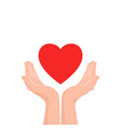 love care icon two hands with red heart vector image
