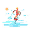 man with flyboard vector image vector image