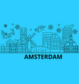 netherlands amsterdam winter holidays skyline vector image vector image