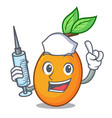 nurse fresh juicy yellow plum isolated on cartoon vector image