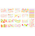 party elements big set pennants flags garlands vector image
