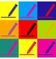 Pencil sign Pop-art style icons set vector image vector image