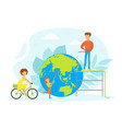 people taking care about planet ecology tiny vector image vector image