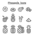 pineapple icon set in thin line style vector image vector image