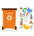 plastic recycling garbage can trash isolated flat vector image