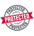 protected round grunge ribbon stamp vector image vector image
