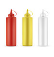 realistic sauce bottles set for restaurant vector image