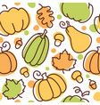 seamless fall pattern with pumpkins maple and oak vector image