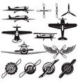 set airplanes propellers aviation design vector image vector image