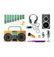 set musical instruments for playing music and vector image vector image