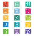 Set of fifteen colorful number tags in squares wit vector image vector image