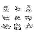 set of love label font with brush valentines day vector image vector image