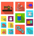 sewing atelier flat icons in set collection for vector image vector image