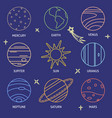solar system planets icon color set in line style vector image vector image