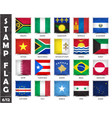 stamp with official country flag set 6 12 vector image