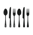 tableware such as spoon knife fork silhouette vector image vector image