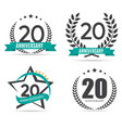 Template Logo 20 Years Anniversary Set vector image vector image