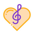 treble clef and heart song element icon vector image vector image