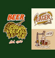 vintage beer badge green hops rye and wheat keg vector image vector image