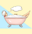 woman relaxing in foamy bath cartoon vector image