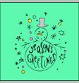 cute christmas card snowman on blue background vector image