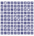 100 conference icons set grunge sapphire vector image vector image