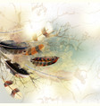 background with feathers in realistic style vector image vector image