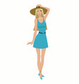 beautiful girl in a dress and hat vector image vector image