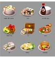 Big food set nine icons of delicious dishes vector image vector image