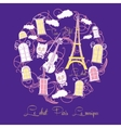 Blue background with music and Tour Eiffel vector image vector image