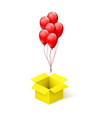 box with surprise balloons flying from open vector image vector image