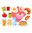 breakfast clip art cartoon set isolated on vector image