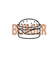 burger outline with text on white vector image