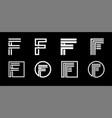 capital letter f modern set for monograms logos vector image vector image