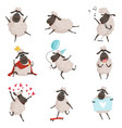 cartoon farm animals sheep playing and making vector image vector image