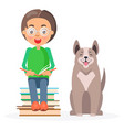 child in glasses sitting with books and husky vector image vector image