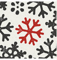 Christmas Background with red grungy snowflake vector image