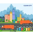 City waste recycling concept with garbage truck vector image vector image