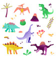 Cute dinosaurs isolated on white background