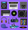dj music discjockey playing disco on vector image